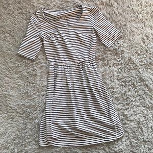 Old Navy Black & White Striped Fit & Flare Dress